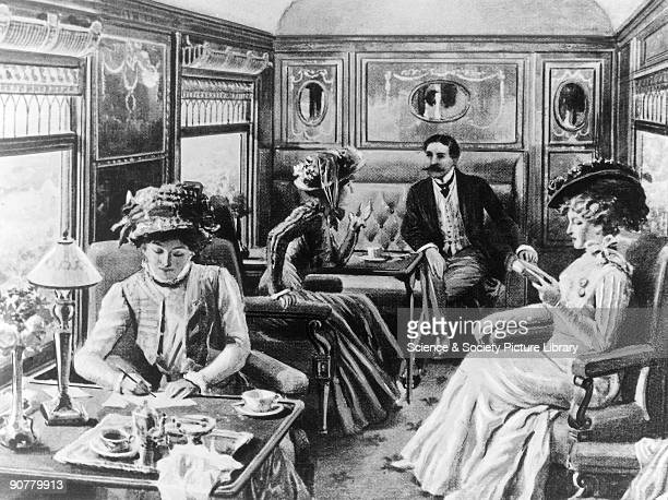 Interior of Pullman car 'Belgravia' c 19th century Three ladies and a gentleman occupying a Pullman car