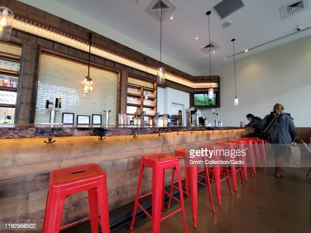 Interior of Roam Artisan Burgers restaurant in City Center Bishop Ranch, San Ramon, California, December 4, 2019.