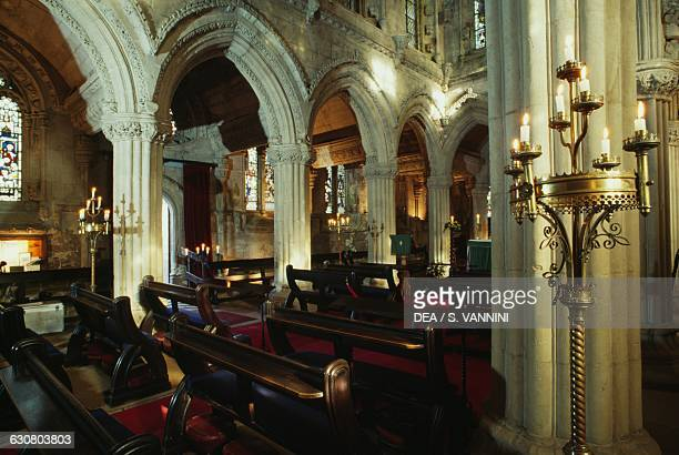 Interior of Rosslyn Chapel, founded in 1446 by William St Clair, Roslin, Midlothian, Scotland. United Kingdom, 15th century.