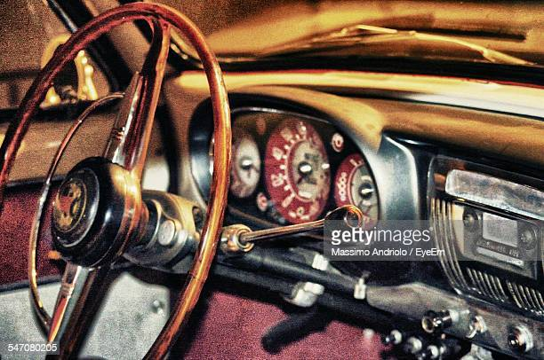 Interior Of Rusty Steering Wheel In Vintage Car