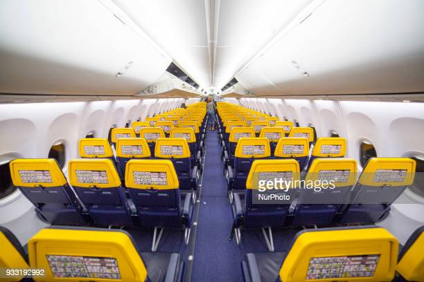 Interior of Ryanair airplanes as seen in Thessaloniki International Airport quotMakedoniaquot on March 17 2018 Ryanair operates a fleet of 420 Boeing...