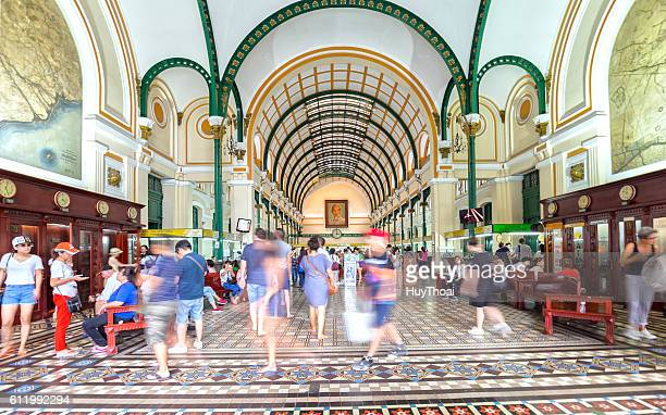 interior of saigon central post office - art deco furniture stock pictures, royalty-free photos & images