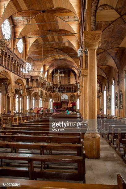 Interior of Saint Peter and Paul Cathedral in Paramaribo Suriname built about 1885 It is a minor basilica and is built of wood rather than stone It...