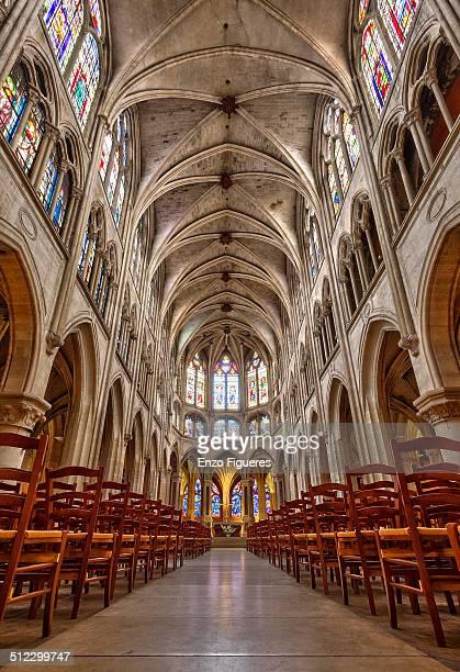 interior of saint-séverin, paris, france - lancet arch stock pictures, royalty-free photos & images