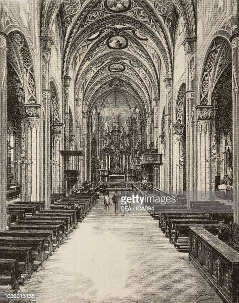 Interior of Saluzzo cathedral Italy drawing by Fiocchi and Colantuoni engraving from L'Illustrazione Italiana No 9 February 28 1886