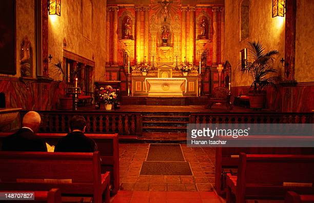 interior of santa barbara mission. - mission santa barbara stock pictures, royalty-free photos & images