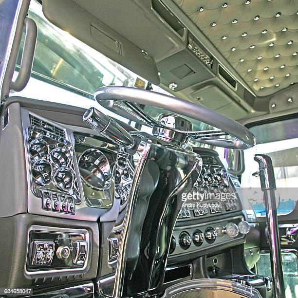 Interior of semi-truck cab