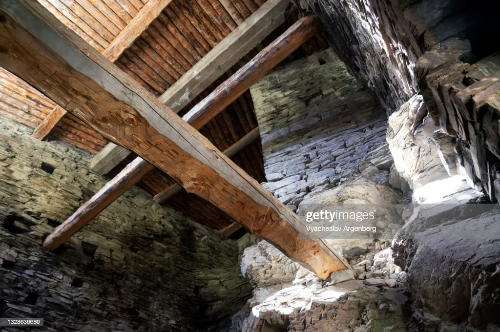 Interior of Shatili stone tower, Khevsureti, Georgia : ストックフォト