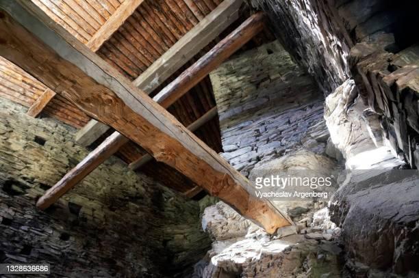interior of shatili stone tower, khevsureti, georgia - argenberg stock pictures, royalty-free photos & images