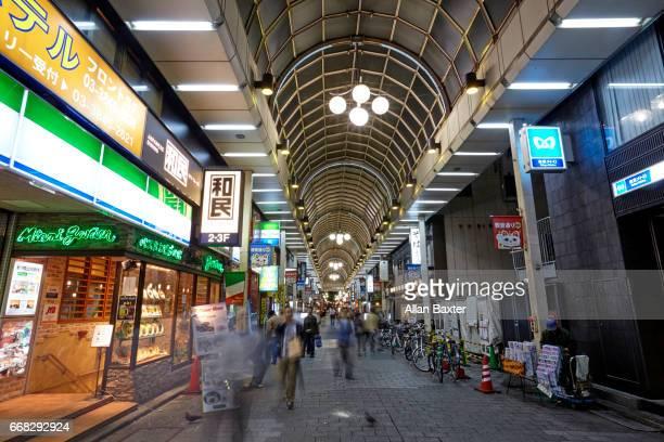 Interior of shopping arcade at the Nakamise Dori in Asakusa