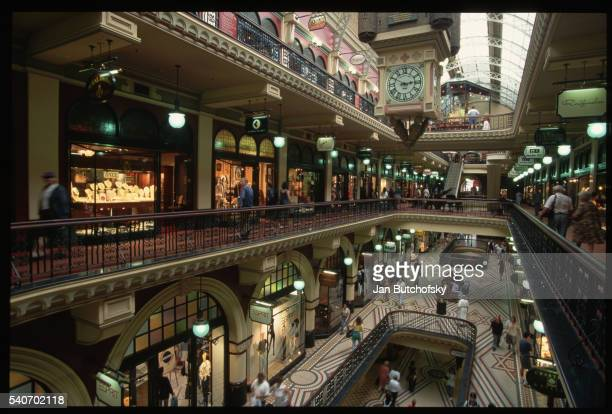 interior of shopping area at queen victoria building - queen victoria stock pictures, royalty-free photos & images