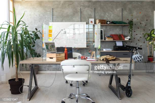 interior of small, modern office - new normal stock pictures, royalty-free photos & images