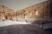 Interior of South Basilica, St Simeons Church, Syria.