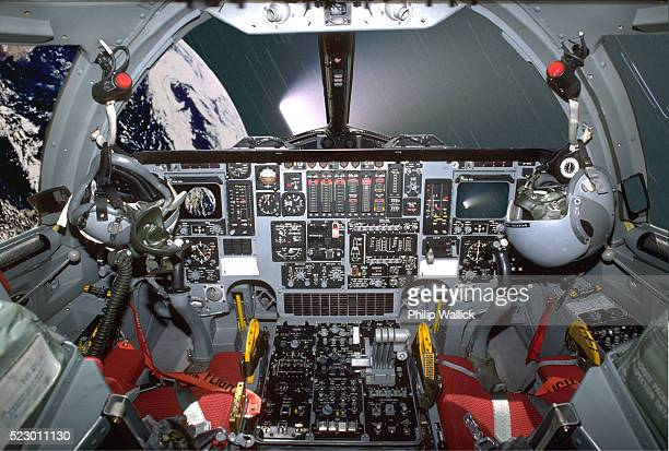 Interior of space shuttle cockpit in orbit
