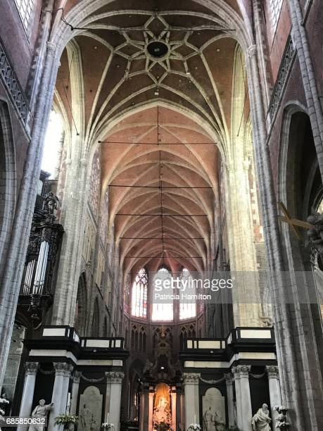 interior of st bavo's cathedral, ghent - cathedral stock pictures, royalty-free photos & images
