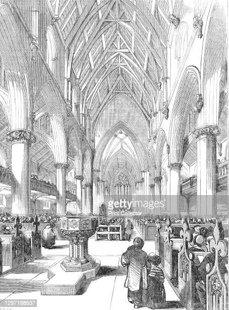 Interior of St. Giles's Church, Camberwell, 1844. Worshippers at a newly built church in south London, with the font in the foreground. 'The chancel...