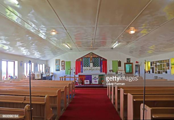 interior of st. mary's aglican church on tristan da cunha. - tristan da cunha eiland stockfoto's en -beelden