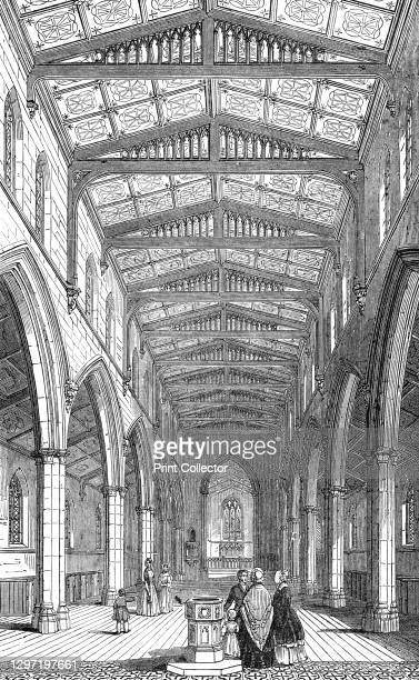 Interior of St. Mary's New Church, Herne Hill, 1844. Church in south London: 'This highly-embellished structure has just been completed...The...