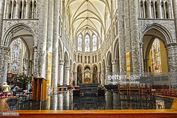 interior of st. michael and st. gudula cathedral - cathedral of st. michael and st. gudula stock photos and pictures