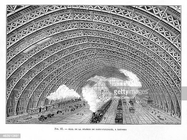 Interior of St Pancras Railway Station London 1865 Using an iron latticed arched roof WH Barlow and RM Marsh were able to construct a clean arch 100...