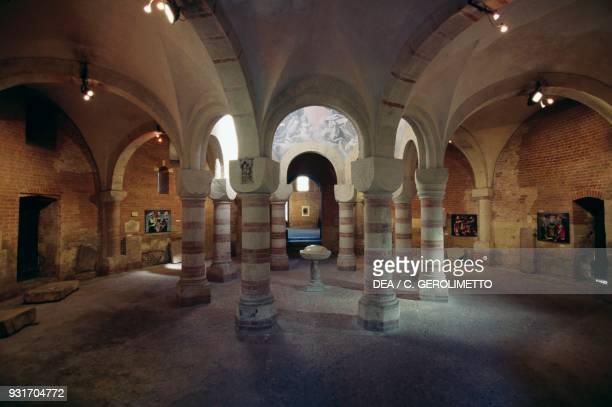 Interior of St Peter's baptistery Asti Piedmont Italy 12th century
