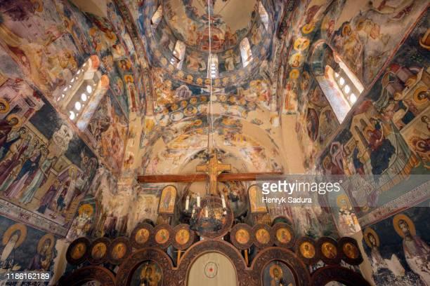 interior of studenica monastery - 僧院 ストックフォトと画像