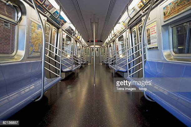 interior of subway train, new york city, new york, united states - 地下鉄 ストックフォトと画像