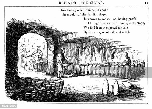 Interior of sugar refinery Metal cones are being filled with liquid syrup which will crystallise to form sugar loaves Wood engraving London 1860