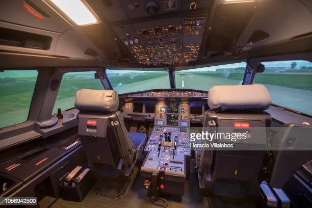 Interior of TAP A320 medium range flight simulator in TAP Air Portugal training center in Lisbon International Airport on October 19 2018 in Lisbon...