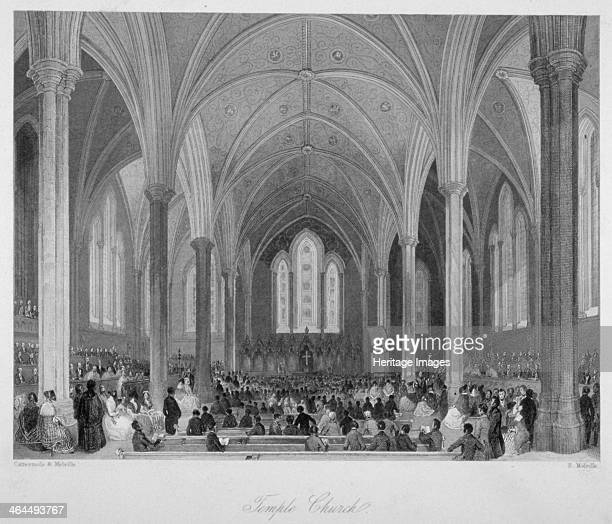 Interior of Temple Church during a service, City of London, 1860.