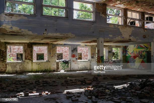 Interior of the abandoned and destroyed building of the Officers' Casino on the former Nazi and after WW2 Soviet military base area is seen in Borne...