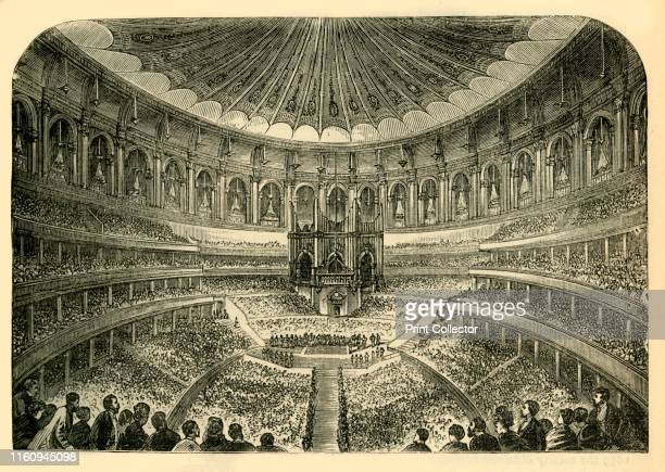 Interior of the Albert Hall' circa 1876 Royal Albert Hall is a concert hall in South Kensington designed by civil engineers Francis Fowke and Henry Y...