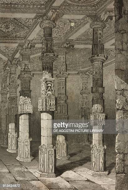 Interior of the ancient Jain temple converted into the Adhai Din Ka Jhonpra Mosque Ajmer India engraving by Lemaitre after Gaucherel from Inde by...