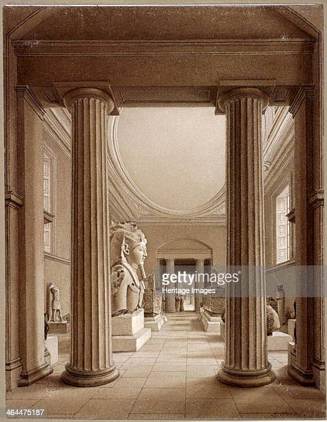 Interior of the British Museum, London, c1840; showing the Egyptian Gallery as viewed through two large pillars.