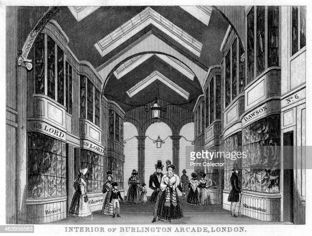 Interior of the Burlington Arcade Westminster London 19th century Situated off Piccadilly Burlington Arcade was designed in 1819 by Samuel Ware It is...