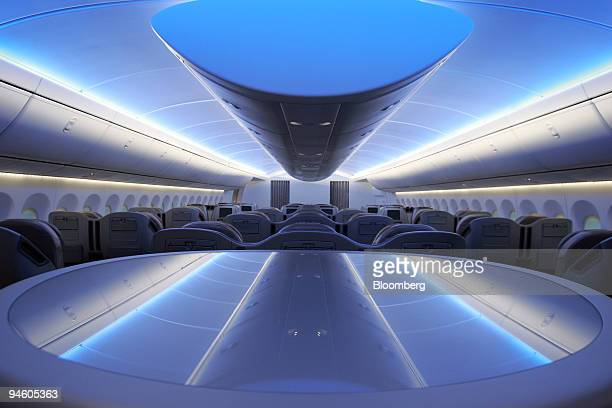 Interior of the business class section of the lifesize display of the new Boeing 7478 Intercontinental in Renton Washington Thursday Jan 18 2007 The...