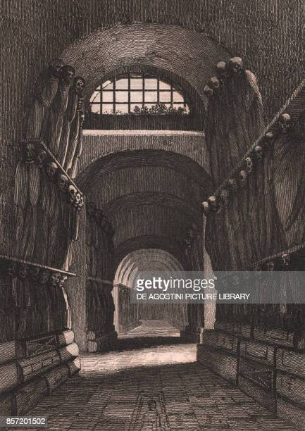 Interior of the Capuchin Catacombs in Palermo Sicily Italy steel engraving ca 13x10 cm from L'Italia la Sicilia le isole Eolie l'isola d'Elba la...