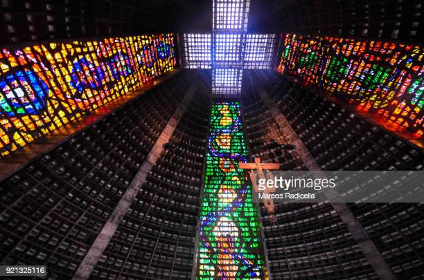 interior of the catedral de sao sebastiao do rio de janeiro - radicella stock photos and pictures