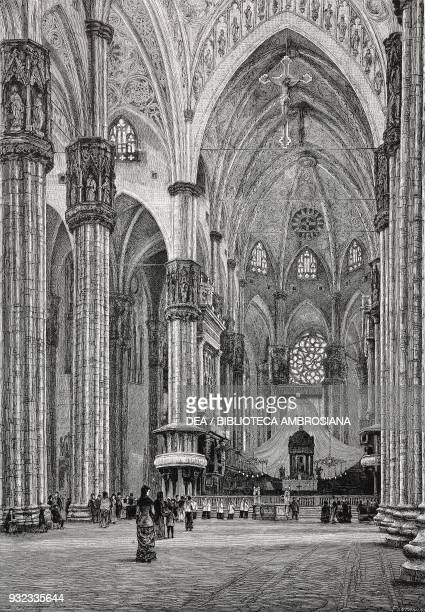 Interior of the Cathedral Milan Italy drawing by Quintilio Michetti engraving from L'Illustrazione Italiana No 47 November 20 1881