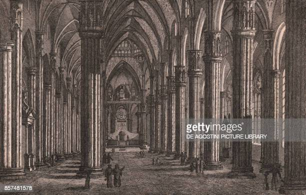 Interior of the Cathedral, Milan, Lombardy, Italy, copper engraving, 18x12.5 cm, from Die Wundermappe oder sammtliche Kunst und Natur Wunder des...