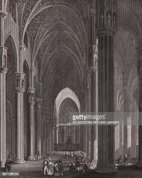 Interior of the Cathedral Milan Lombardy Italy steel engraving ca 125x165 cm from L'Italia la Sicilia le isole Eolie l'isola d'Elba la Sardegna Malta...