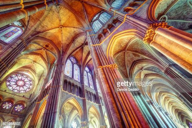 interior of the cathedral notre dame of reims - reims stock pictures, royalty-free photos & images