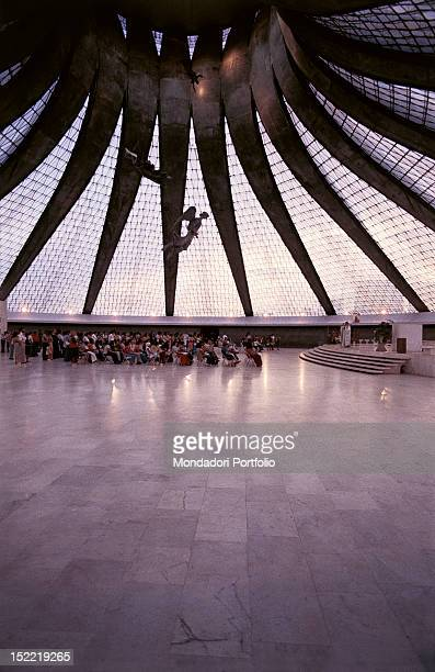 Interior of the Cathedral of Brasilia , capital of the Federal Republic of Brasil. It was designed by architect Oscar Niemeyer; it was completed and...