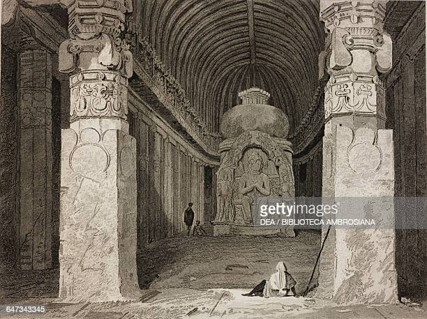 Interior of the cave temple of Bisma Kurm Ellora India drawn by Cattermole from original sketches by Commander Robert Elliott from Views in India...