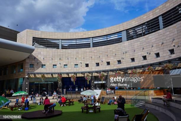 interior of the central milton keynes shopping area - milton keynes stock pictures, royalty-free photos & images
