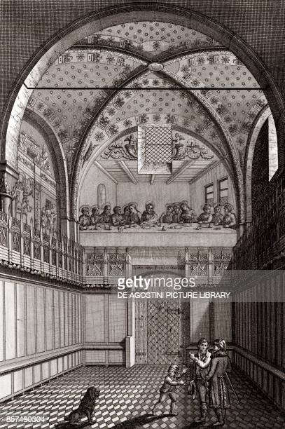 Interior of the Chapel of the Palace of the Marquis of Saluzzo in Revello Piedmont Italy copper engraving 195x29 cm from Corografia fisica storica e...