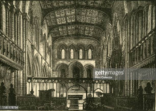 Interior of the Choir' 1898 Final resting place of Saint David Wales's patron saint St David's cathedral was begun in 1181 destroyed by Cromwells...