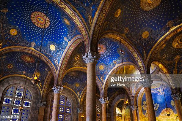 interior of the church of all nations in the garden of gethsamane - garden of gethsemane stock pictures, royalty-free photos & images