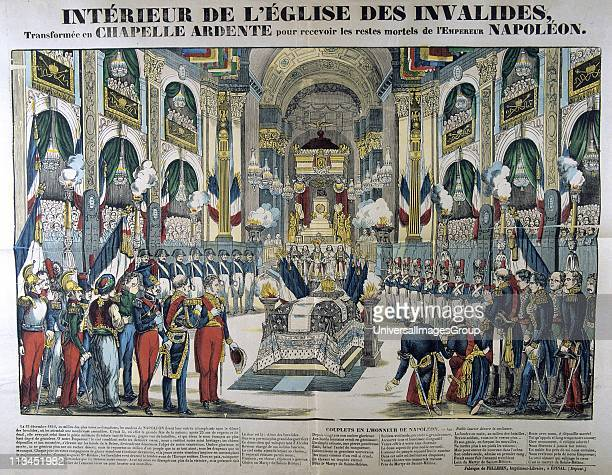 Interior of the church of Les Invalides Paris France the reception the remains of Napoleon I after its return from St Helena 15 December 1840 19th...