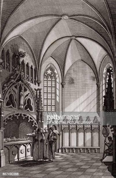 Interior of the Church of St John in Saluzzo Piedmont Italy copper engraving 195x29 cm from Corografia fisica storica e statistica dell'Italia e...